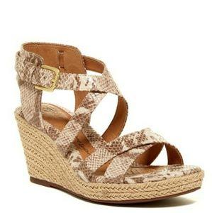 Softt Inez Snake Embossed Wedge Sandals